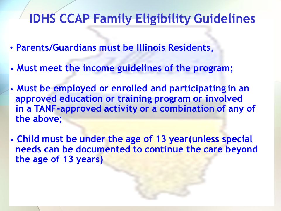 Parent/Guardian s Responsibility It is the applicant s responsibility to provide the CCR&R or Site written documentation required to establish their initial or continued eligibility Providers may assist the parent in completing the application process but the parent/guardian must communicate with the CCR&R regarding eligibility documentation