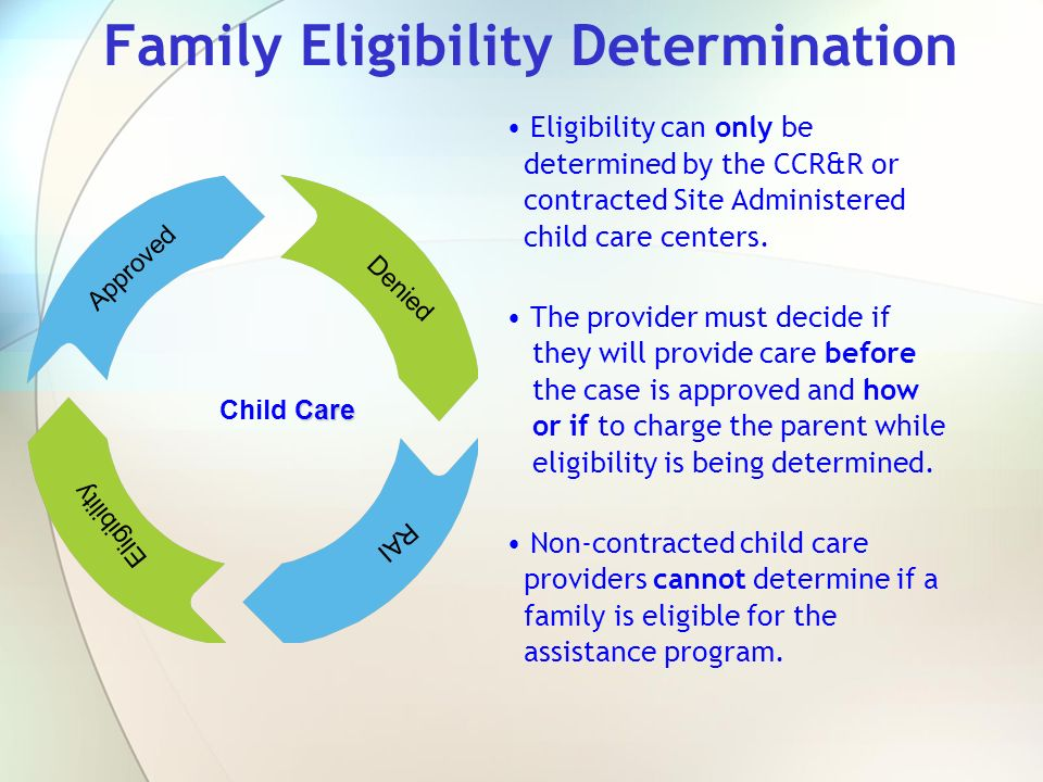 Family Eligibility Determination Eligibility can only be determined by the CCR&R or contracted Site Administered child care centers. The provider must