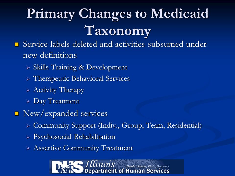 Primary Changes to Medicaid Taxonomy Service labels deleted and activities subsumed under new definitions Service labels deleted and activities subsum