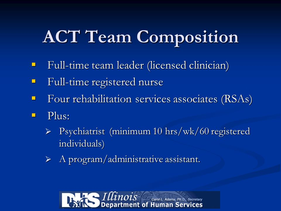 ACT Team Composition Full-time team leader (licensed clinician) Full-time team leader (licensed clinician) Full-time registered nurse Full-time regist