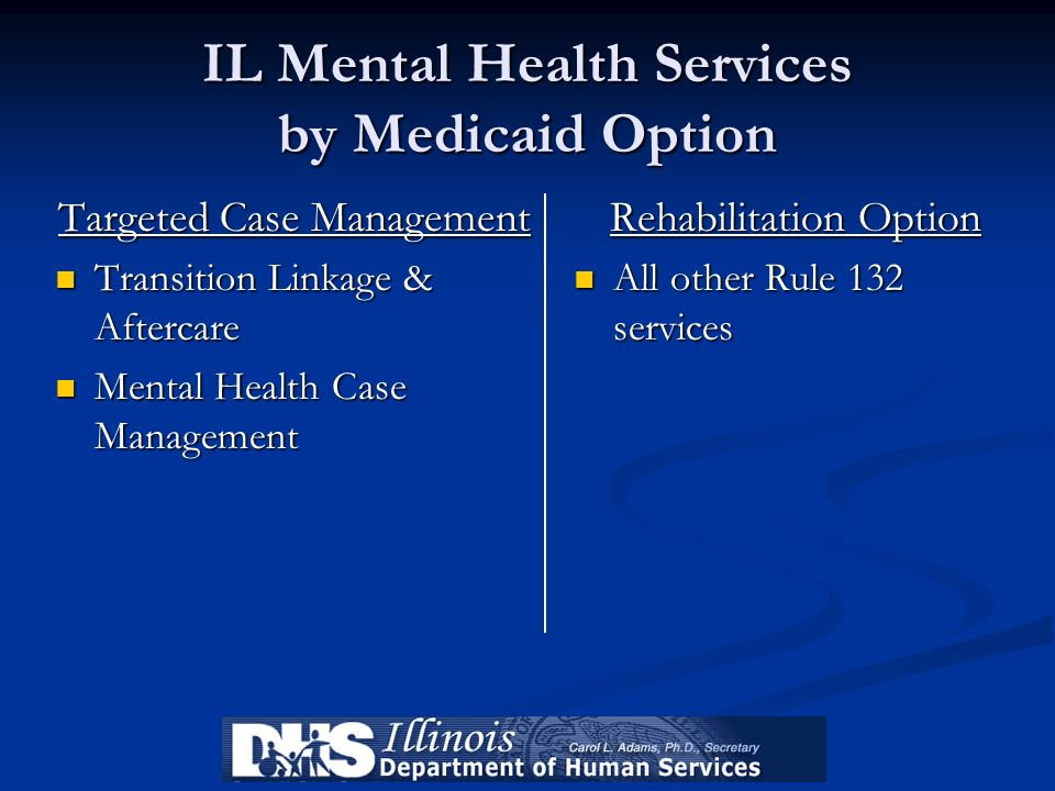 IL Mental Health Services by Medicaid Option Targeted Case Management Transition Linkage & Aftercare Transition Linkage & Aftercare Mental Health Case