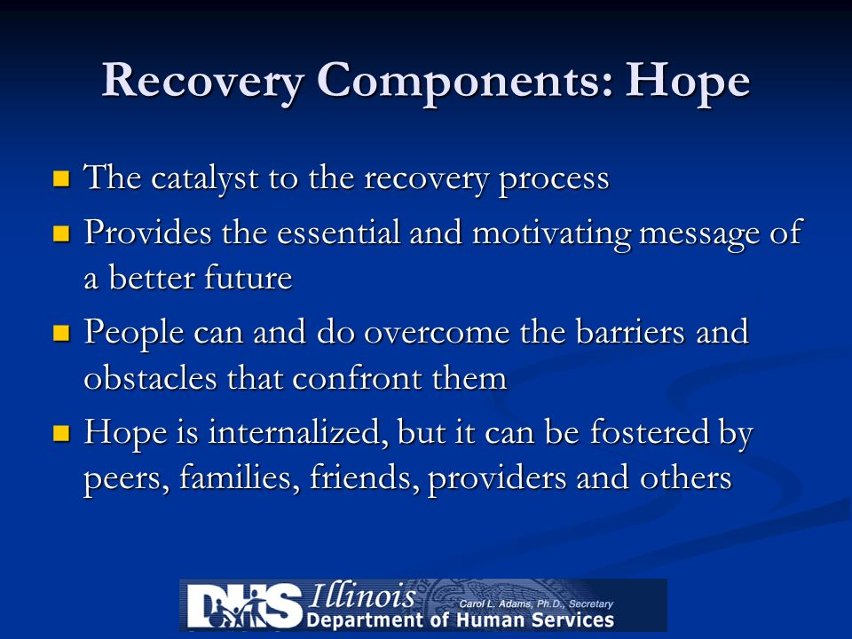 Recovery Components: Hope The catalyst to the recovery process The catalyst to the recovery process Provides the essential and motivating message of a