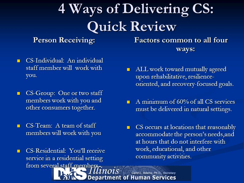 4 Ways of Delivering CS: Quick Review 4 Ways of Delivering CS: Quick Review Person Receiving: CS-Individual: An individual staff member will work with