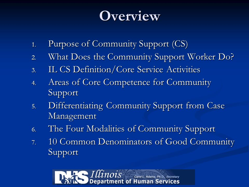 Overview 1. Purpose of Community Support (CS) 2. What Does the Community Support Worker Do? 3. IL CS Definition/Core Service Activities 4. Areas of Co