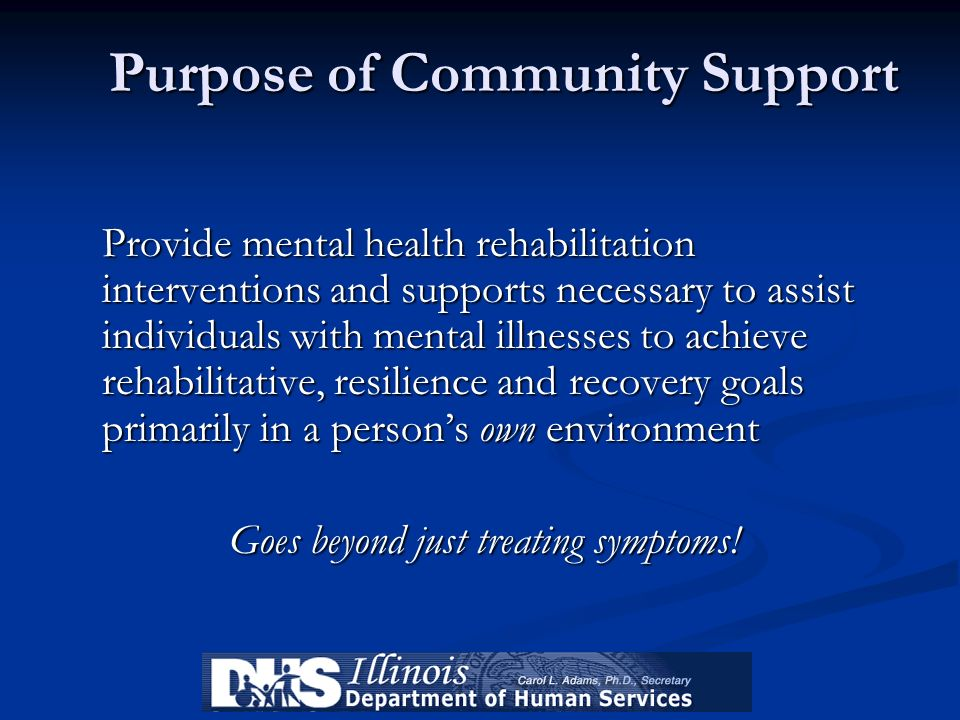 Purpose of Community Support Provide mental health rehabilitation interventions and supports necessary to assist individuals with mental illnesses to