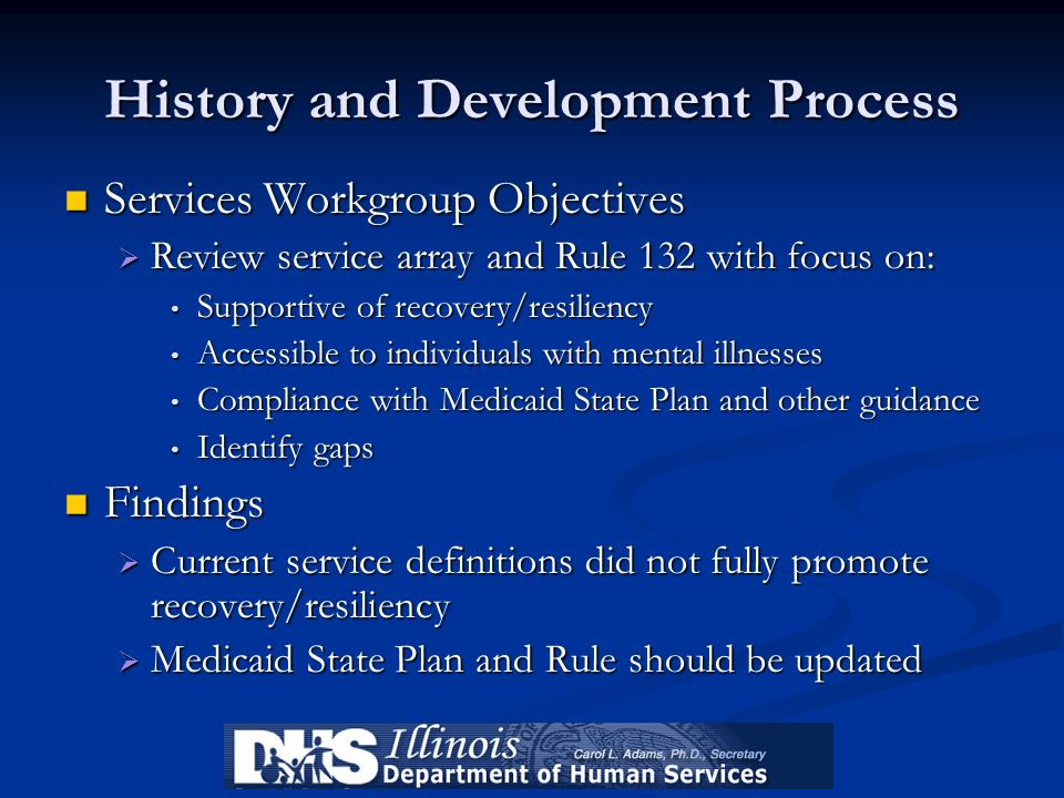 History and Development Process Services Workgroup Objectives Services Workgroup Objectives Review service array and Rule 132 with focus on: Review se
