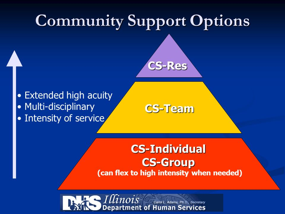 CS-Res CS-Team CS-IndividualCS-Group Extended high acuity Multi-disciplinary Intensity of service Community Support Options (can flex to high intensit