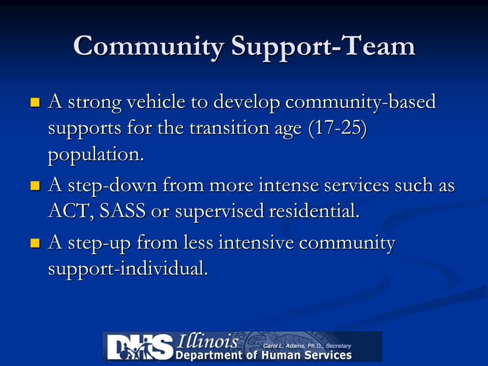 Community Support-Team A strong vehicle to develop community-based supports for the transition age (17-25) population. A strong vehicle to develop com