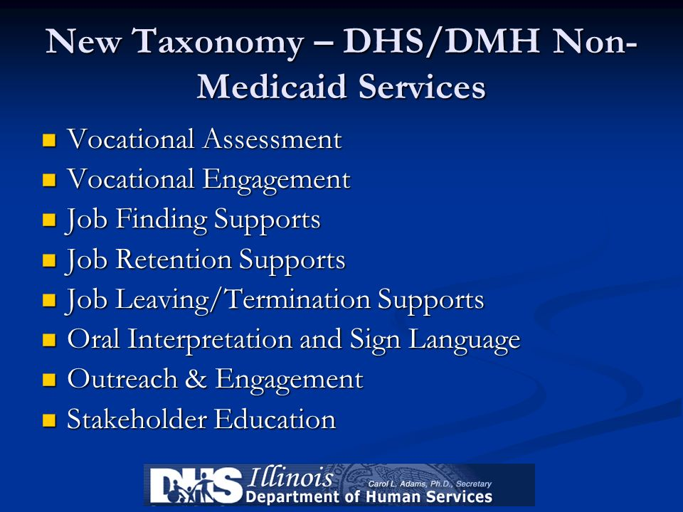 New Taxonomy – DHS/DMH Non- Medicaid Services Vocational Assessment Vocational Assessment Vocational Engagement Vocational Engagement Job Finding Supp