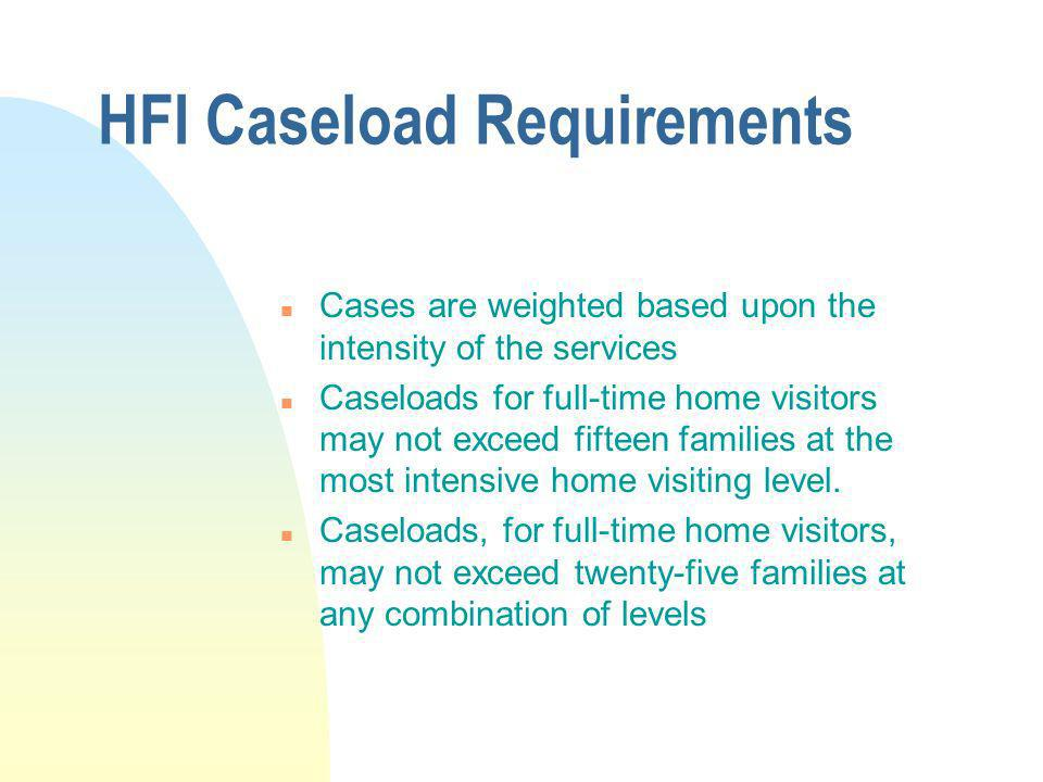 HFI Caseload Requirements n Cases are weighted based upon the intensity of the services n Caseloads for full-time home visitors may not exceed fifteen