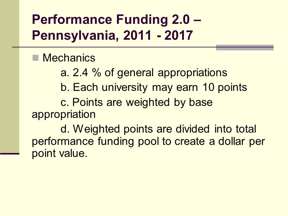 Performance Funding 2.0 – Pennsylvania, Mechanics a.