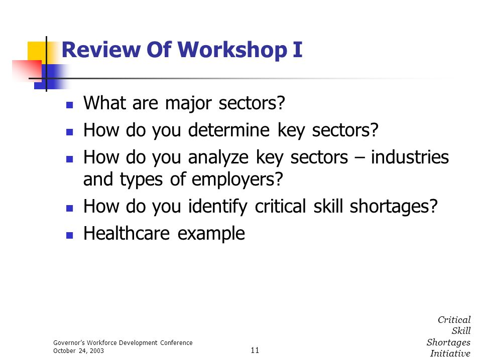 Governors Workforce Development Conference October 24, 2003 Critical Skill Shortages Initiative 11 Review Of Workshop I What are major sectors? How do