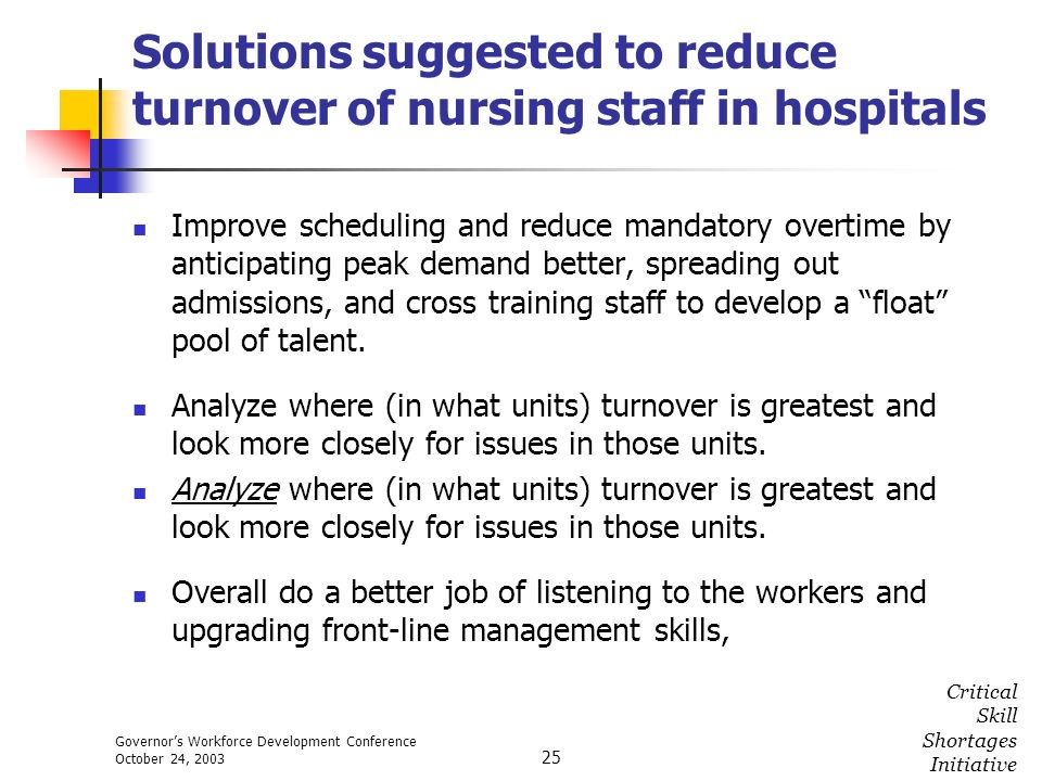 Governors Workforce Development Conference October 24, 2003 Critical Skill Shortages Initiative 25 Solutions suggested to reduce turnover of nursing s