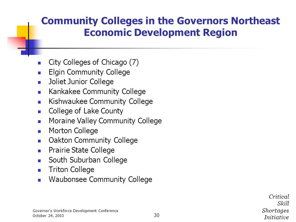 Governors Workforce Development Conference October 24, 2003 Critical Skill Shortages Initiative 30 Community Colleges in the Governors Northeast Econo