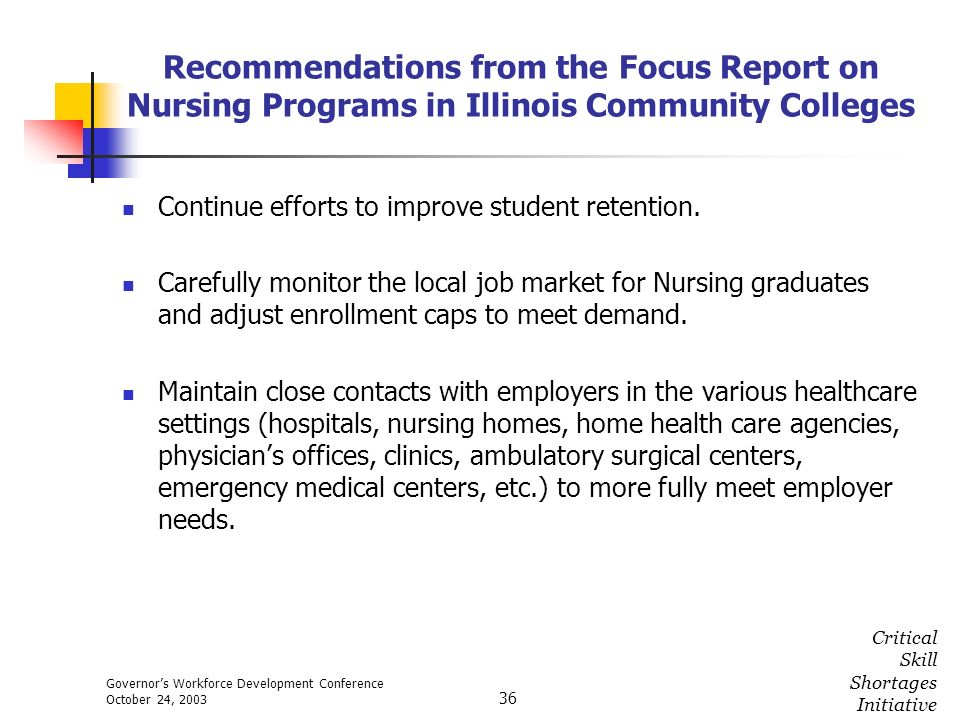 Governors Workforce Development Conference October 24, 2003 Critical Skill Shortages Initiative 36 Recommendations from the Focus Report on Nursing Pr