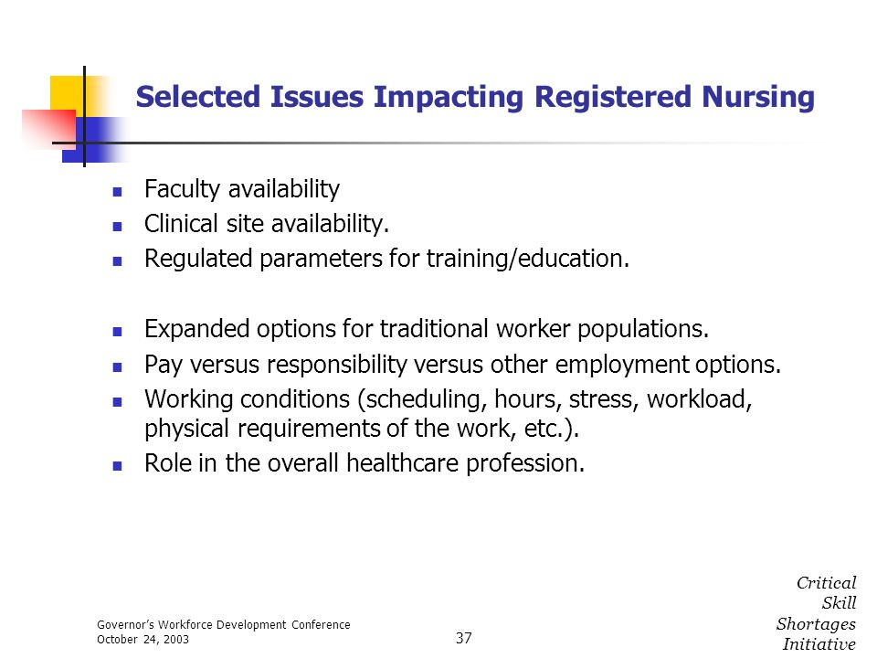Governors Workforce Development Conference October 24, 2003 Critical Skill Shortages Initiative 37 Selected Issues Impacting Registered Nursing Facult