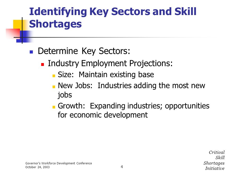 Governors Workforce Development Conference October 24, 2003 Critical Skill Shortages Initiative 4 Identifying Key Sectors and Skill Shortages Determin