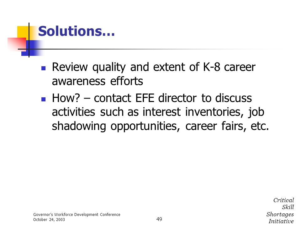 Governors Workforce Development Conference October 24, 2003 Critical Skill Shortages Initiative 49 Solutions… Review quality and extent of K-8 career
