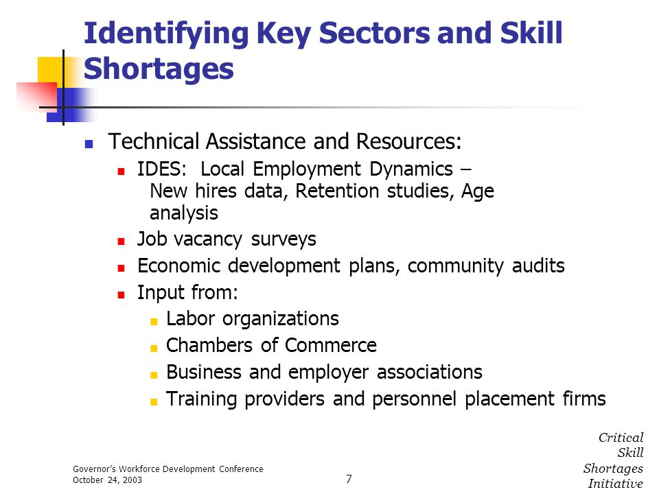 Governors Workforce Development Conference October 24, 2003 Critical Skill Shortages Initiative 7 Identifying Key Sectors and Skill Shortages Technica