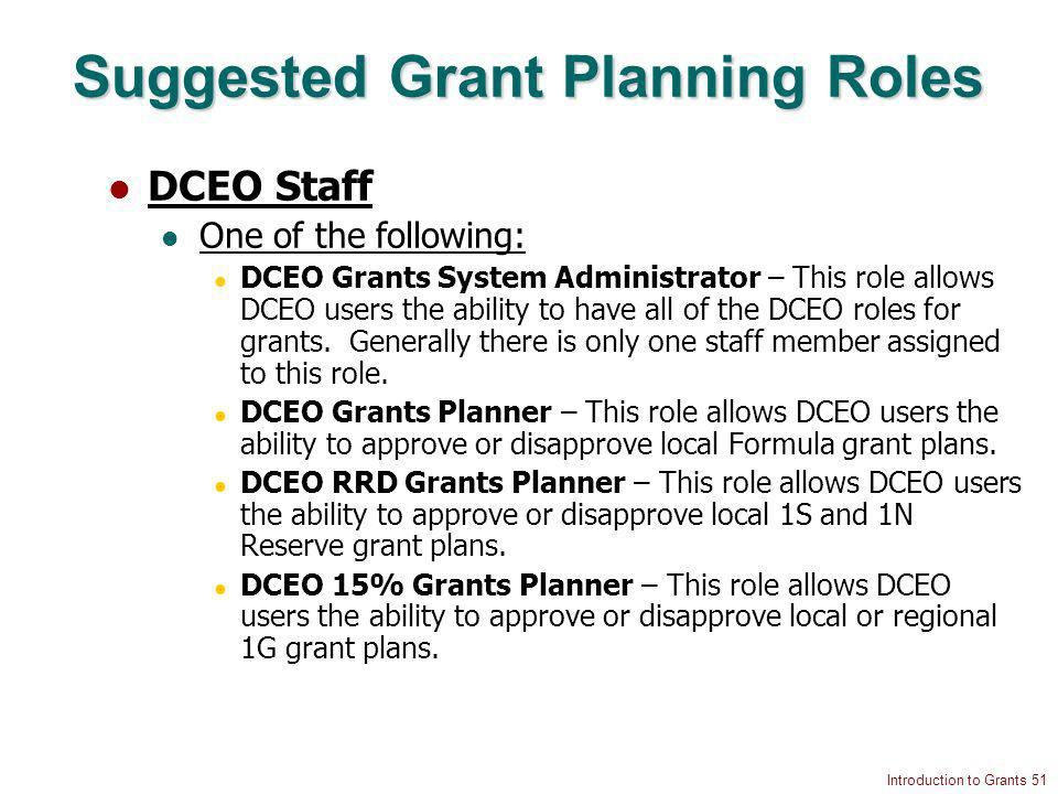Introduction to Grants 51 Suggested Grant Planning Roles DCEO Staff One of the following: DCEO Grants System Administrator – This role allows DCEO users the ability to have all of the DCEO roles for grants.
