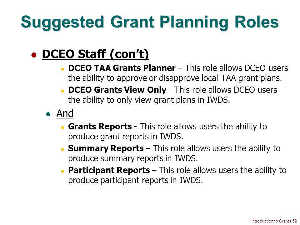Introduction to Grants 52 Suggested Grant Planning Roles DCEO Staff (cont) DCEO TAA Grants Planner – This role allows DCEO users the ability to approve or disapprove local TAA grant plans.