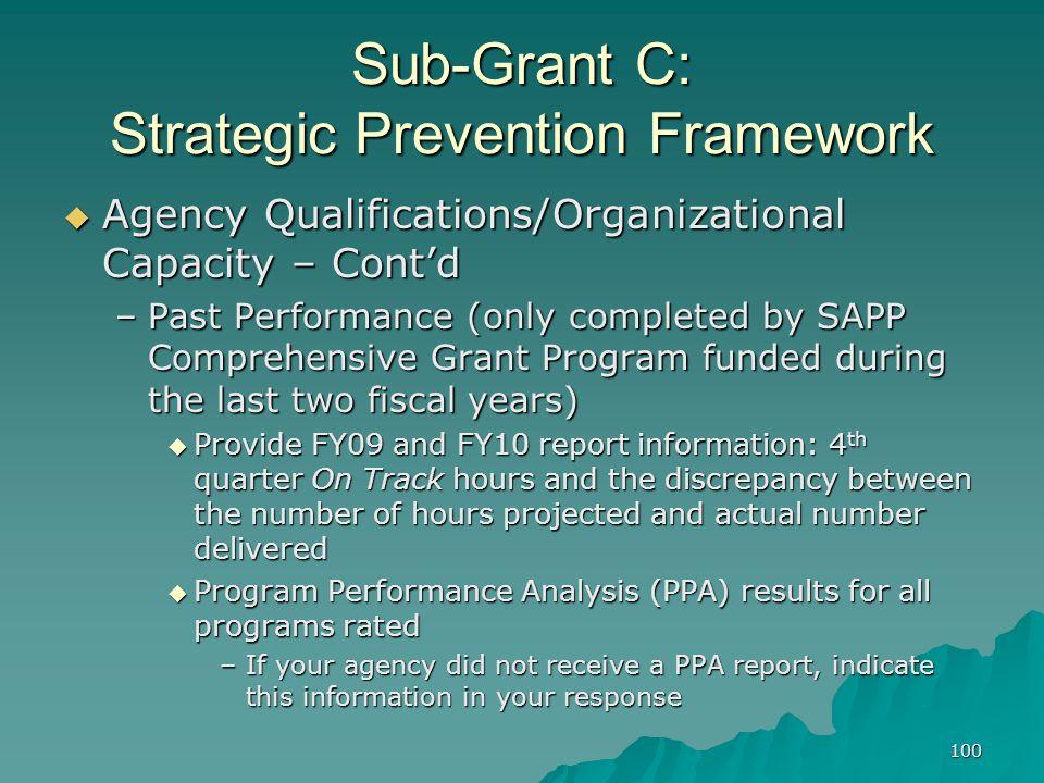 100 Sub-Grant C: Strategic Prevention Framework Agency Qualifications/Organizational Capacity – Contd Agency Qualifications/Organizational Capacity –