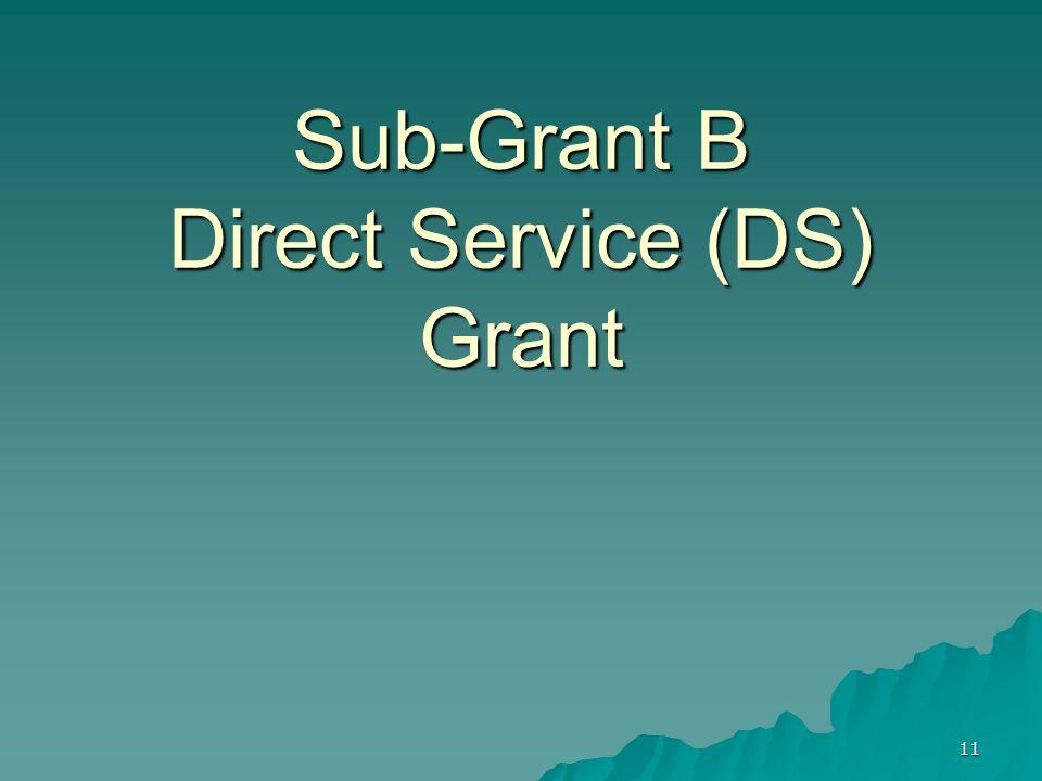 11 Sub-Grant B Direct Service (DS) Grant