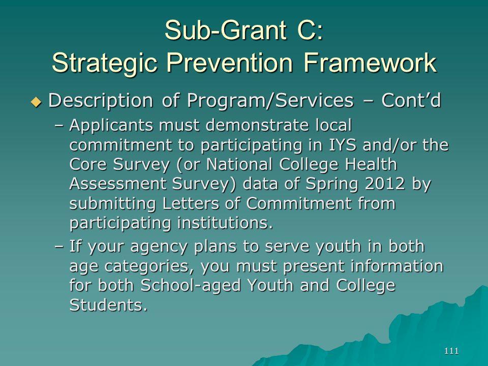 111 Sub-Grant C: Strategic Prevention Framework Description of Program/Services – Contd Description of Program/Services – Contd –Applicants must demon