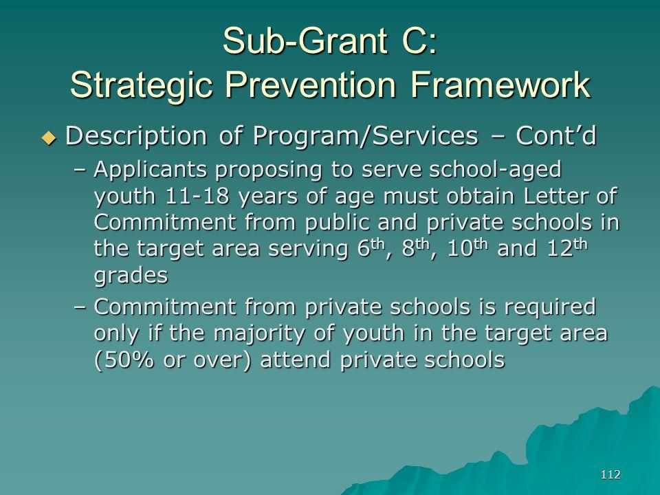 112 Sub-Grant C: Strategic Prevention Framework Description of Program/Services – Contd Description of Program/Services – Contd –Applicants proposing