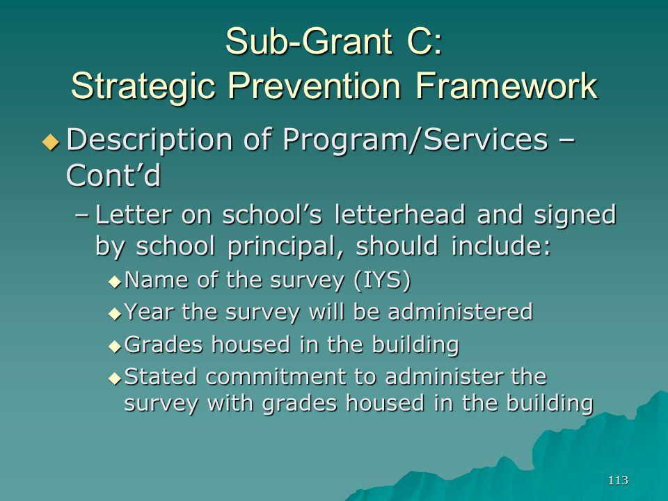 113 Sub-Grant C: Strategic Prevention Framework Description of Program/Services – Contd Description of Program/Services – Contd –Letter on schools let