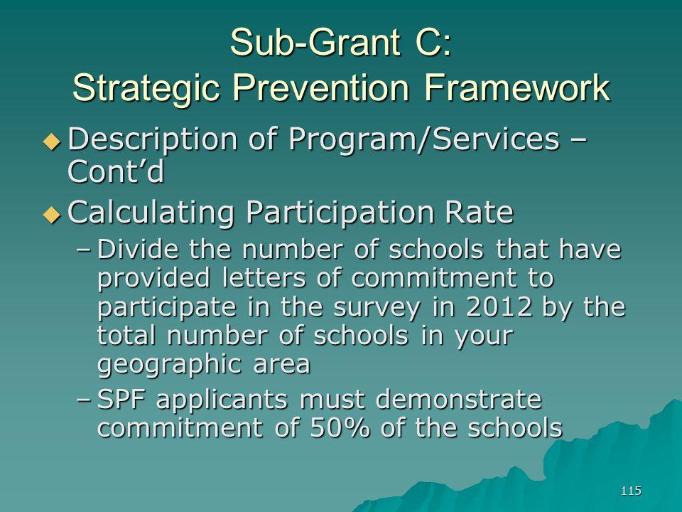 115 Sub-Grant C: Strategic Prevention Framework Description of Program/Services – Contd Description of Program/Services – Contd Calculating Participat