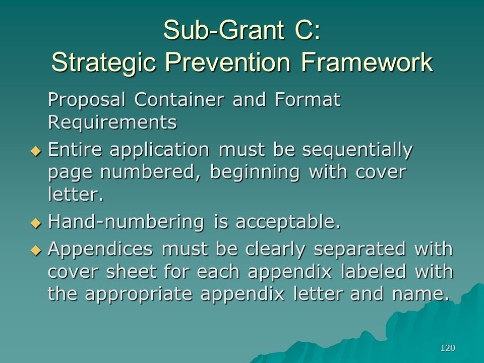 120 Sub-Grant C: Strategic Prevention Framework Proposal Container and Format Requirements Entire application must be sequentially page numbered, begi