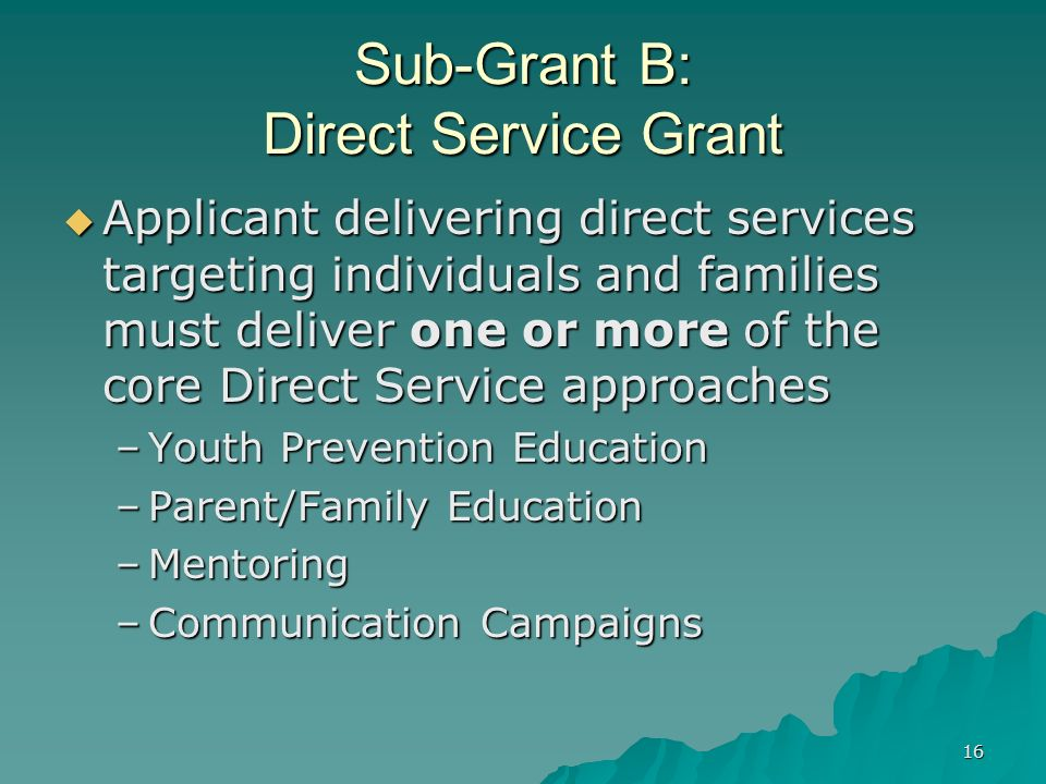 16 Sub-Grant B: Direct Service Grant Applicant delivering direct services targeting individuals and families must deliver one or more of the core Dire