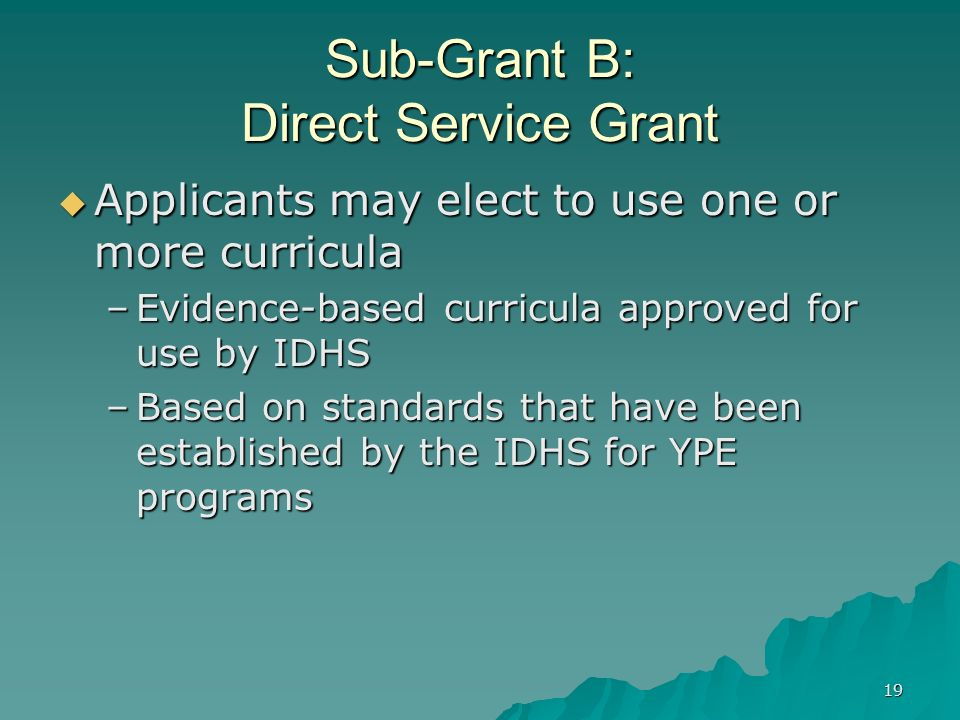 19 Sub-Grant B: Direct Service Grant Applicants may elect to use one or more curricula Applicants may elect to use one or more curricula –Evidence-bas