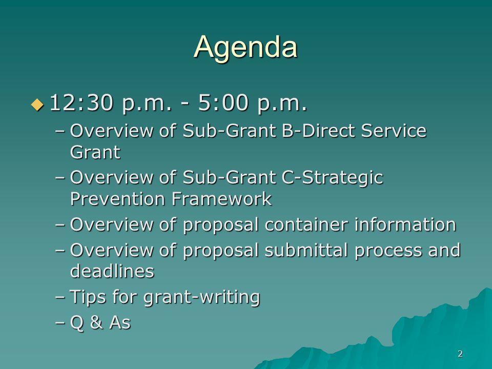 2 Agenda 12:30 p.m. - 5:00 p.m. 12:30 p.m. - 5:00 p.m. –Overview of Sub-Grant B-Direct Service Grant –Overview of Sub-Grant C-Strategic Prevention Fra
