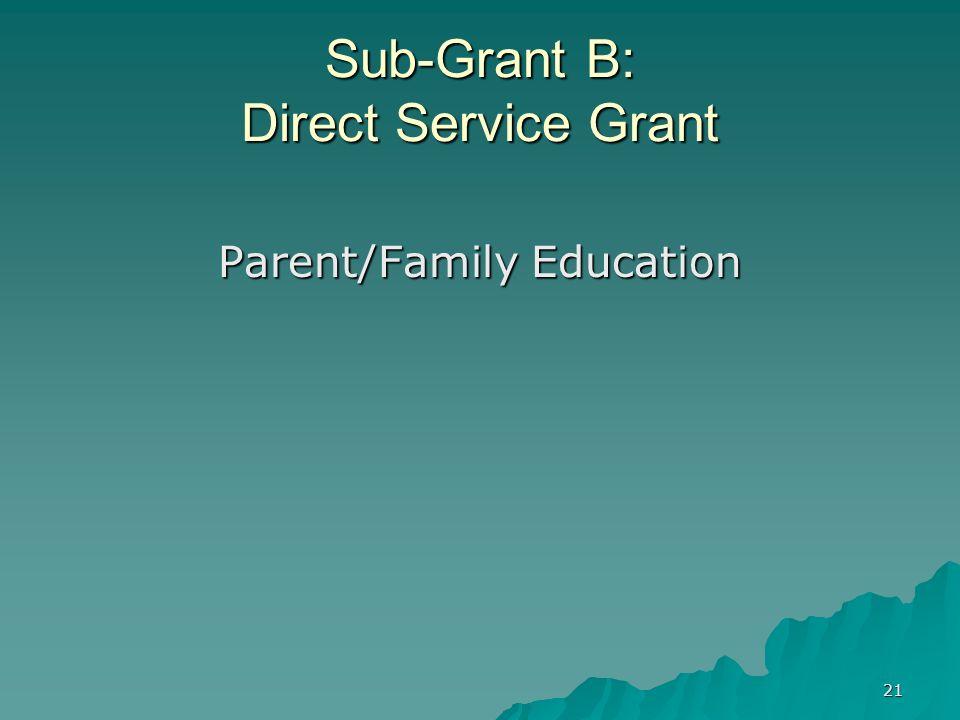 21 Sub-Grant B: Direct Service Grant Parent/Family Education