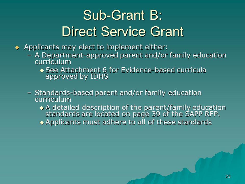 23 Sub-Grant B: Direct Service Grant Applicants may elect to implement either: Applicants may elect to implement either: –A Department-approved parent