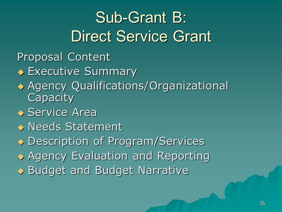 36 Sub-Grant B: Direct Service Grant Proposal Content Executive Summary Executive Summary Agency Qualifications/Organizational Capacity Agency Qualifi