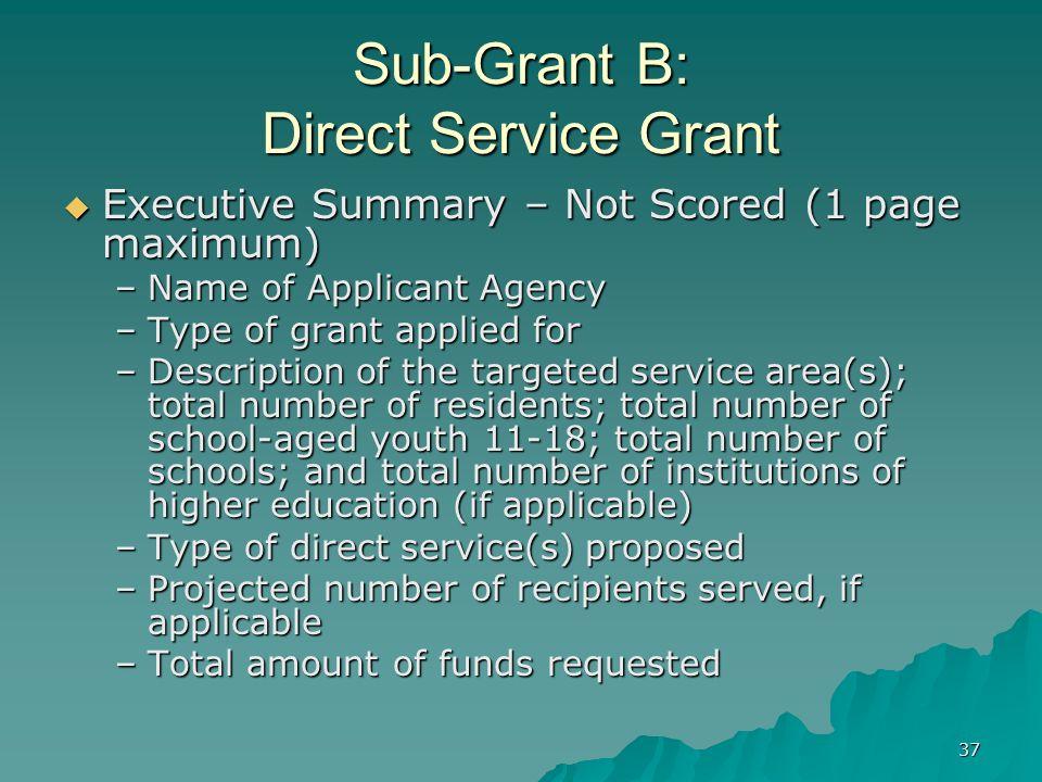 37 Sub-Grant B: Direct Service Grant Executive Summary – Not Scored (1 page maximum) Executive Summary – Not Scored (1 page maximum) –Name of Applican