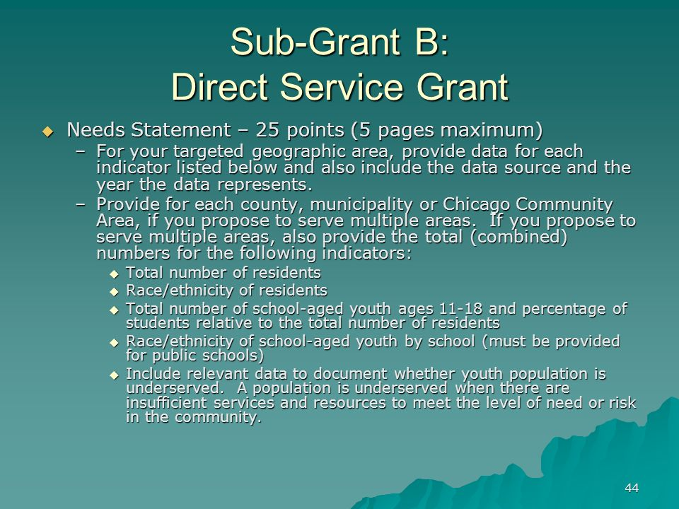 44 Sub-Grant B: Direct Service Grant Needs Statement – 25 points (5 pages maximum) Needs Statement – 25 points (5 pages maximum) –For your targeted ge