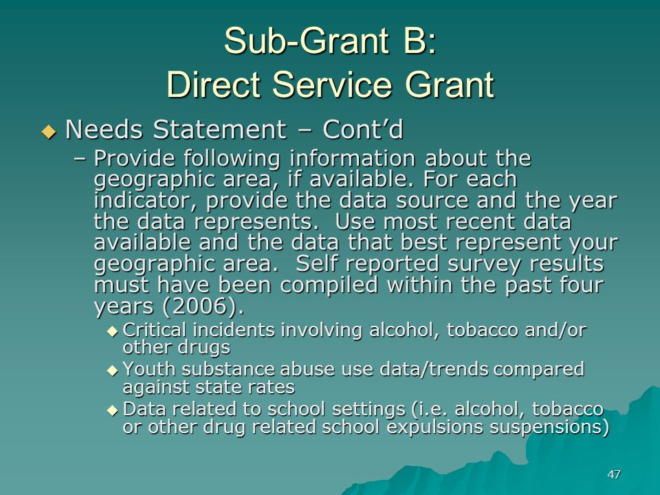 47 Sub-Grant B: Direct Service Grant Needs Statement – Contd Needs Statement – Contd –Provide following information about the geographic area, if avai