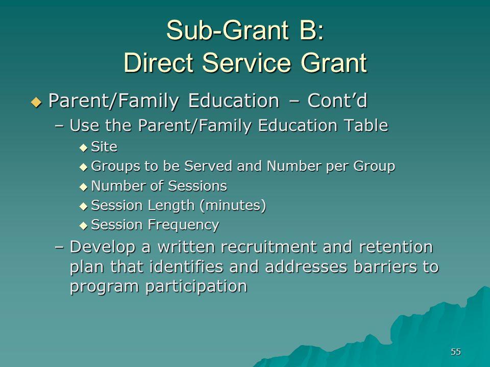 55 Sub-Grant B: Direct Service Grant Parent/Family Education – Contd Parent/Family Education – Contd –Use the Parent/Family Education Table Site Site