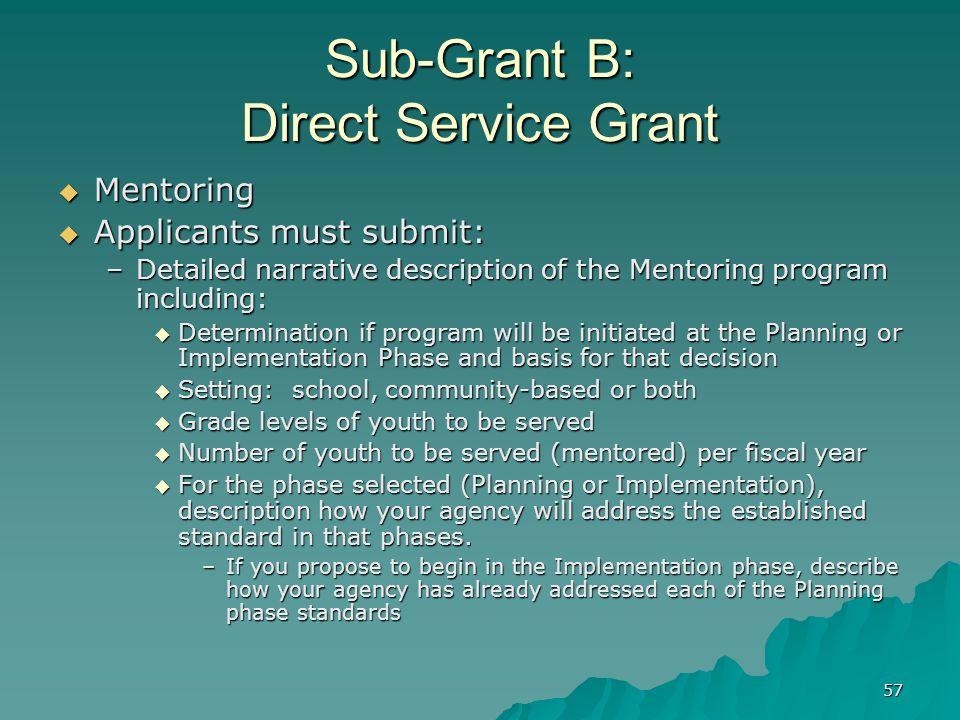 57 Sub-Grant B: Direct Service Grant Mentoring Mentoring Applicants must submit: Applicants must submit: –Detailed narrative description of the Mentor
