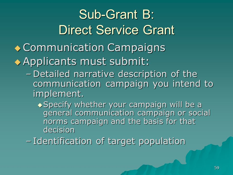 59 Sub-Grant B: Direct Service Grant Communication Campaigns Communication Campaigns Applicants must submit: Applicants must submit: –Detailed narrati