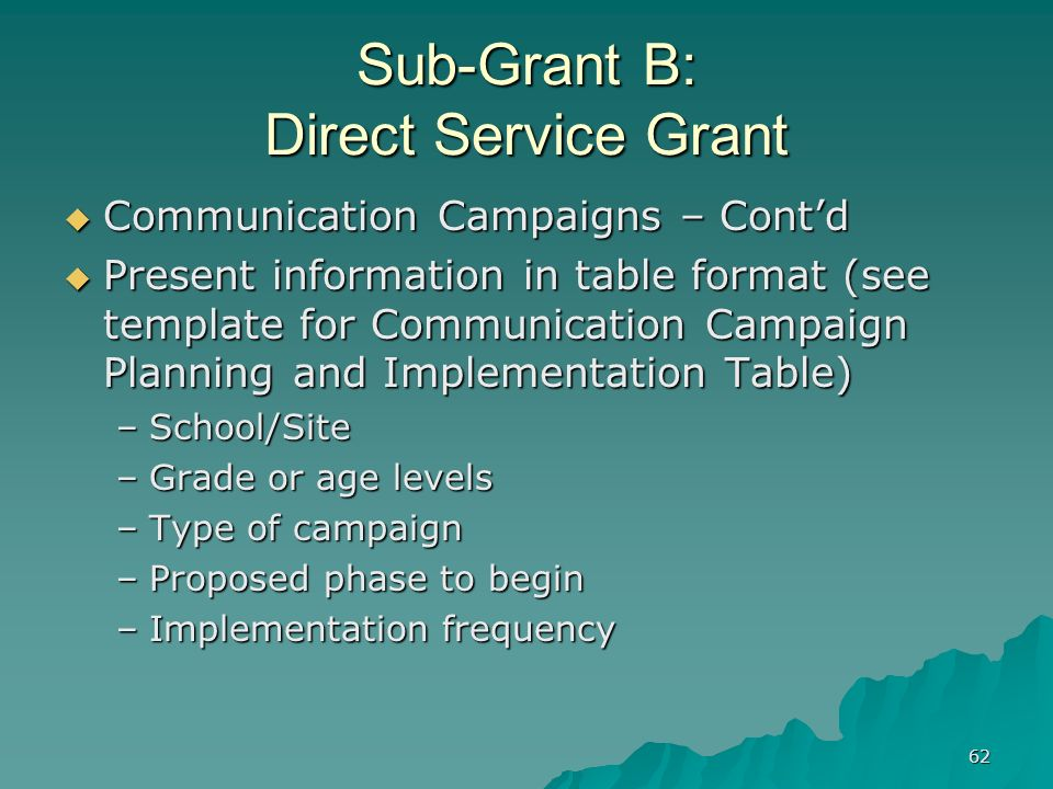 62 Sub-Grant B: Direct Service Grant Communication Campaigns – Contd Communication Campaigns – Contd Present information in table format (see template