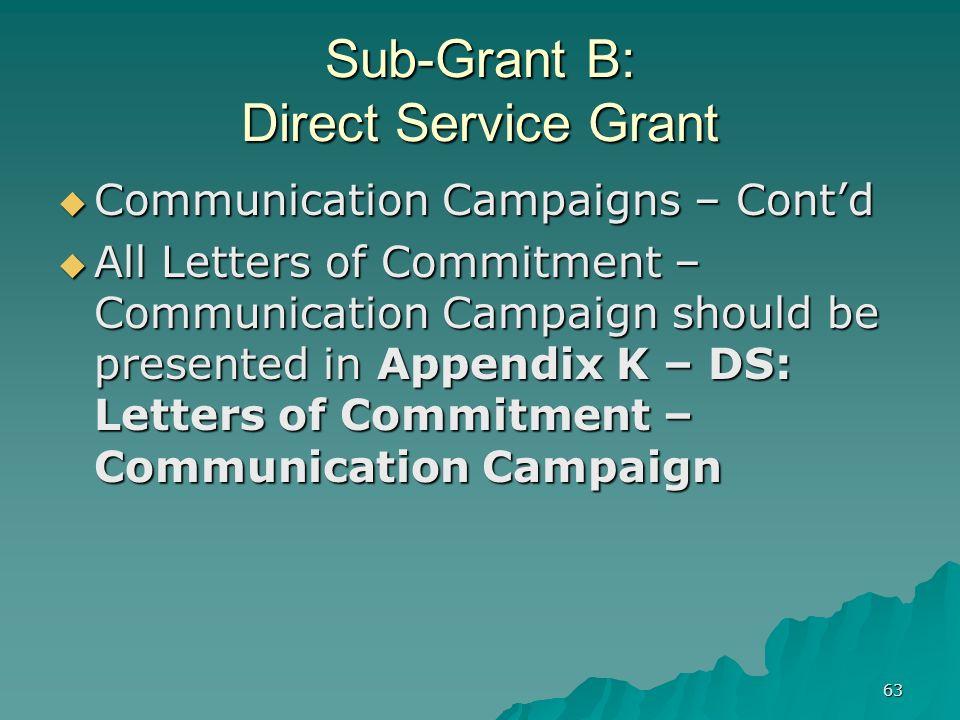 63 Sub-Grant B: Direct Service Grant Communication Campaigns – Contd Communication Campaigns – Contd All Letters of Commitment – Communication Campaig