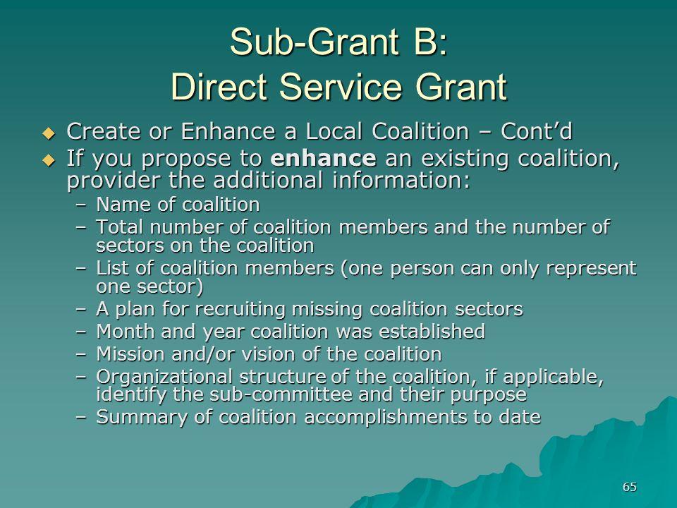 65 Sub-Grant B: Direct Service Grant Create or Enhance a Local Coalition – Contd Create or Enhance a Local Coalition – Contd If you propose to enhance