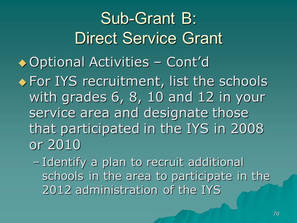 70 Sub-Grant B: Direct Service Grant Optional Activities – Contd Optional Activities – Contd For IYS recruitment, list the schools with grades 6, 8, 1