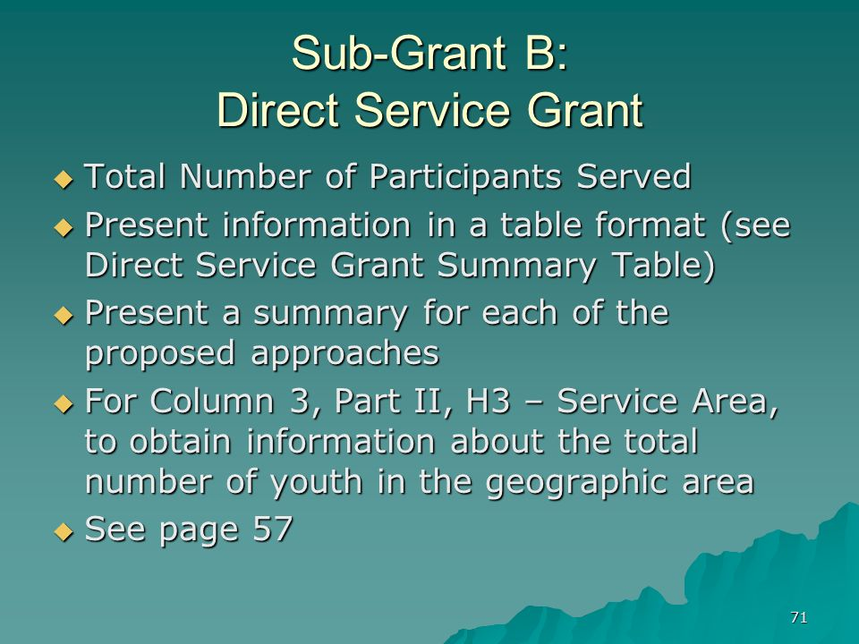 71 Sub-Grant B: Direct Service Grant Total Number of Participants Served Total Number of Participants Served Present information in a table format (se