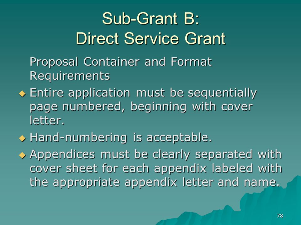 78 Sub-Grant B: Direct Service Grant Proposal Container and Format Requirements Entire application must be sequentially page numbered, beginning with